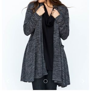 S M Black Casade Cardigan Dark Gray Agnes and Dora